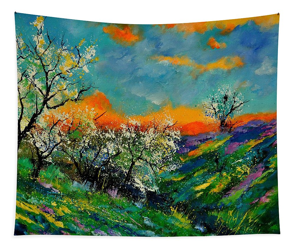 Landscape Tapestry featuring the painting Spring 672101 by Pol Ledent