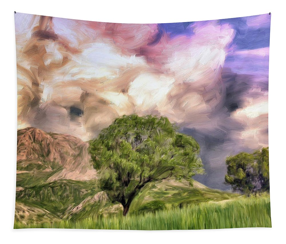 Storm Tapestry featuring the painting Spring Storm In Tuscany by Dominic Piperata