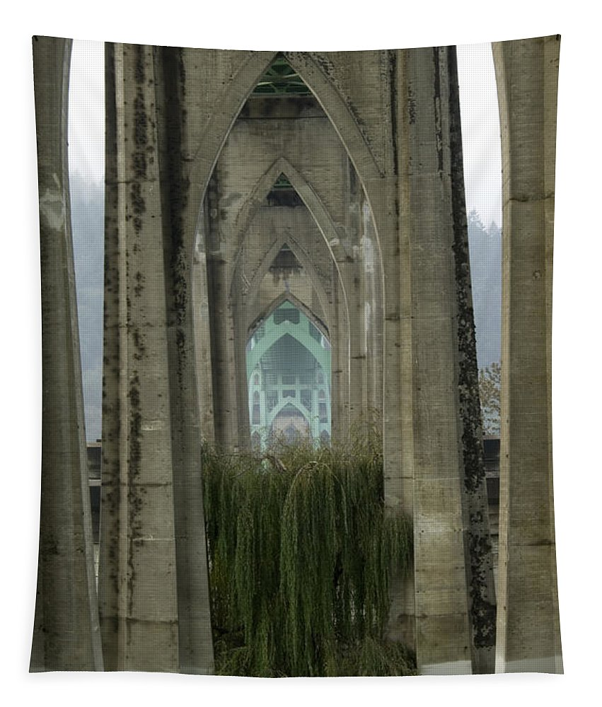 St Johns Bridge Tapestry featuring the photograph St Johns Bridge Portland by Bob Christopher