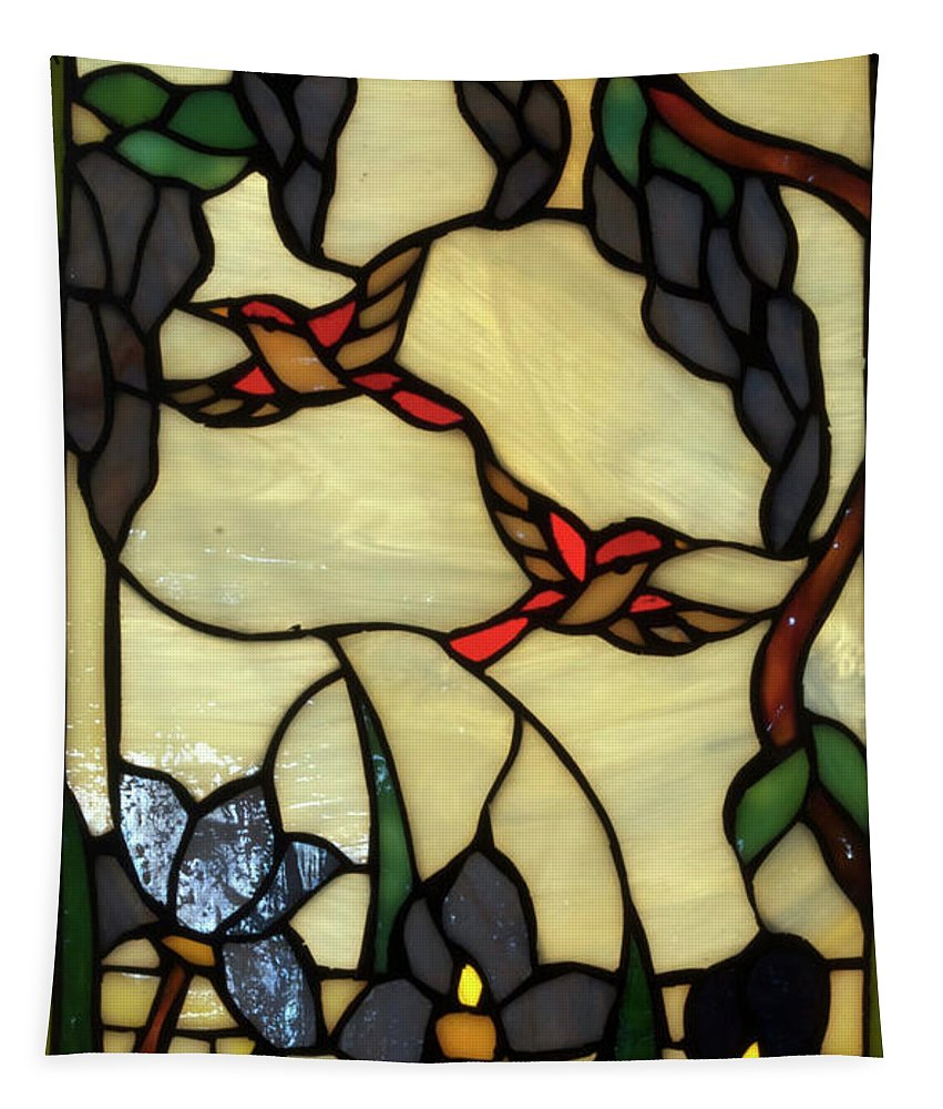 Glass Art Tapestry featuring the photograph Stained Glass Humming Bird Vertical Window by Thomas Woolworth