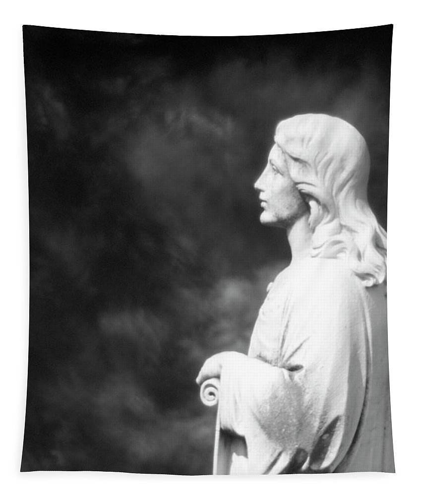 Statue Tapestry featuring the photograph Statue 06 Black And White by Thomas Woolworth