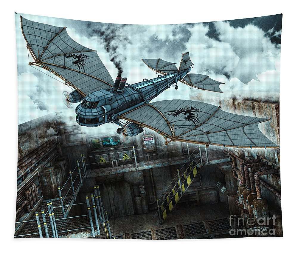 3d Tapestry featuring the digital art Steam Dragon Crossing by Jutta Maria Pusl