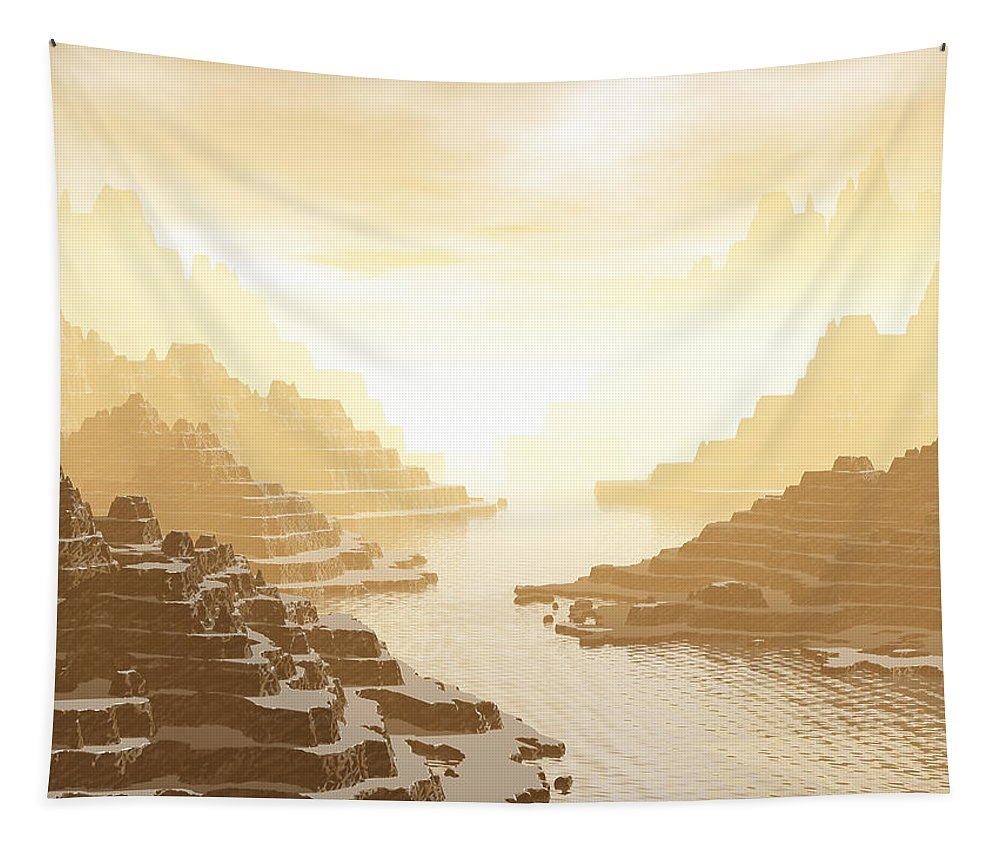 Digital Art Tapestry featuring the digital art Misted Mountain River Passage by Phil Perkins