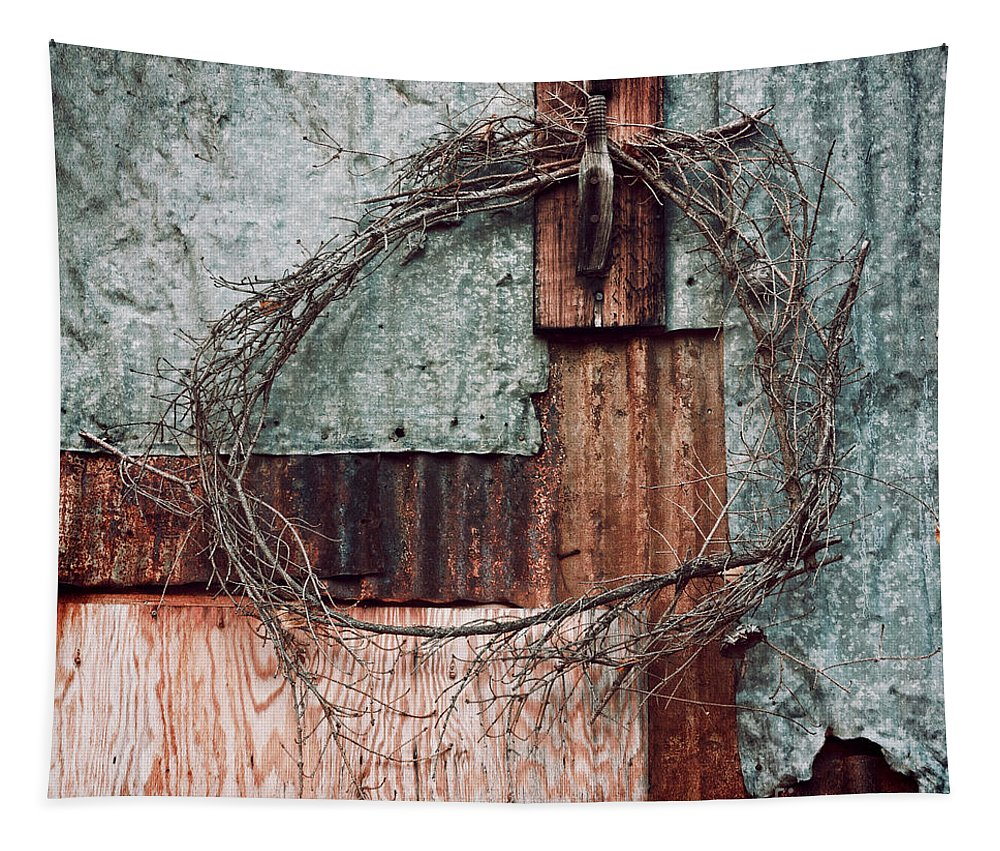 Whreat Tapestry featuring the photograph Still Decorated With A Wreath by Priska Wettstein