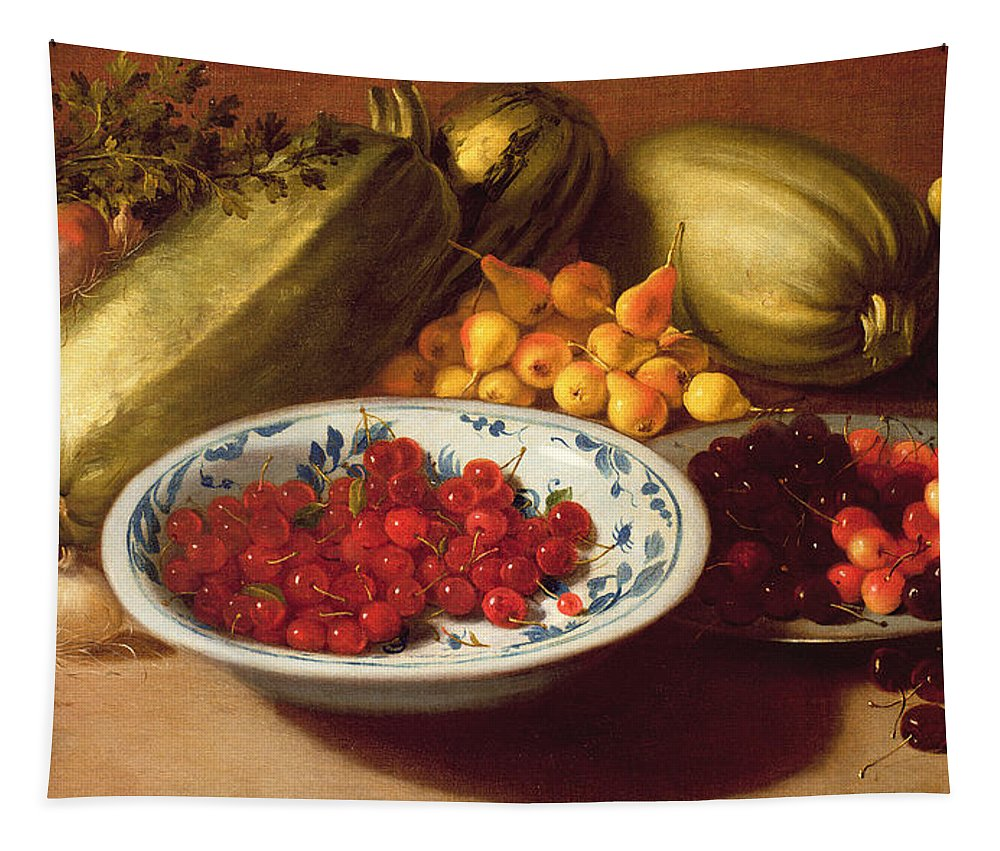 Still Tapestry featuring the painting Still Life Of Cherries - Marrows And Pears by Italian School