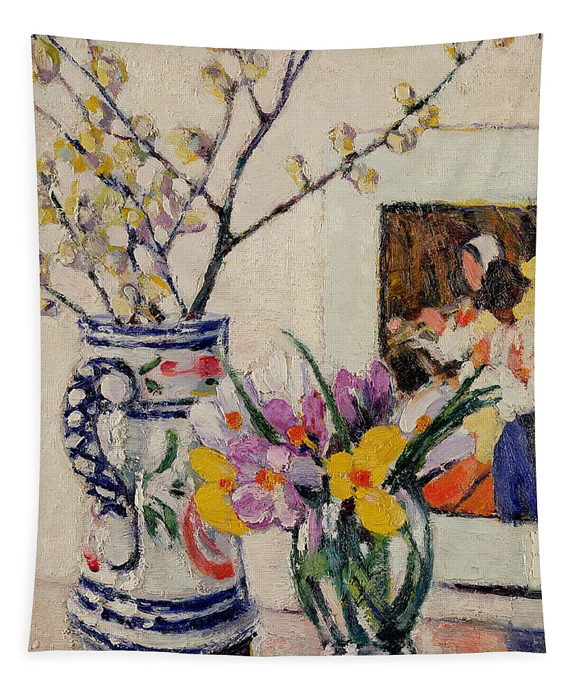 Still Tapestry featuring the painting Still Life With Flowers In A Vase  by Rowley Leggett