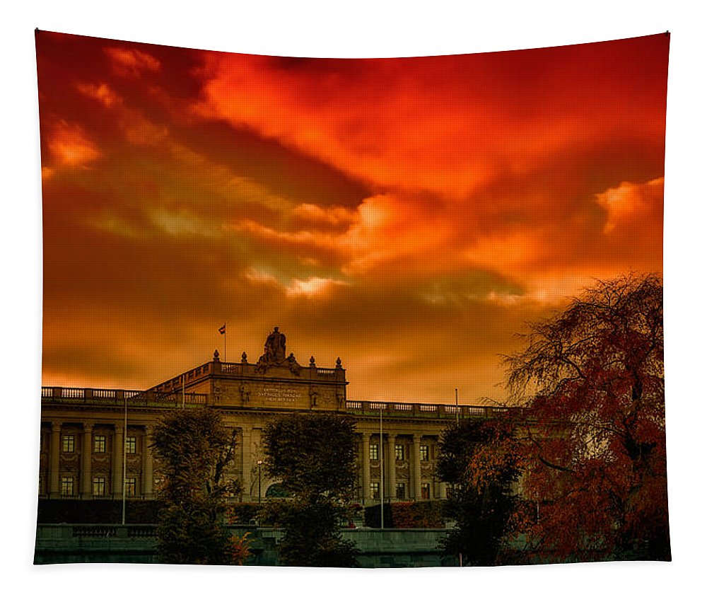 Stockholm Tapestry featuring the photograph Stockholm In Autumn by Ramon Martinez