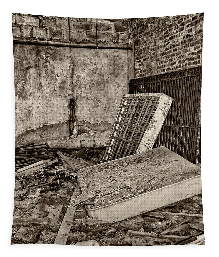 West Virginia Tapestry featuring the photograph Stonehaven Rehab Sepia by Steve Harrington