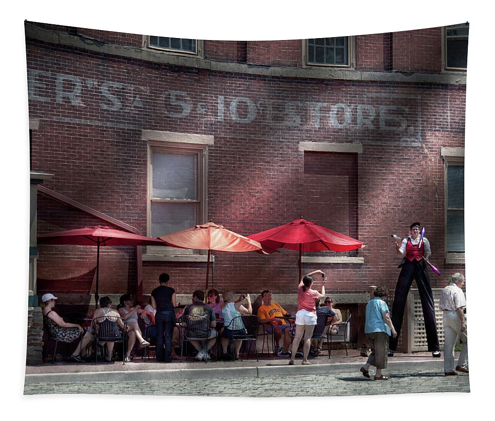 Hdr Tapestry featuring the photograph Storefront - Bastile Day In Frenchtown by Mike Savad