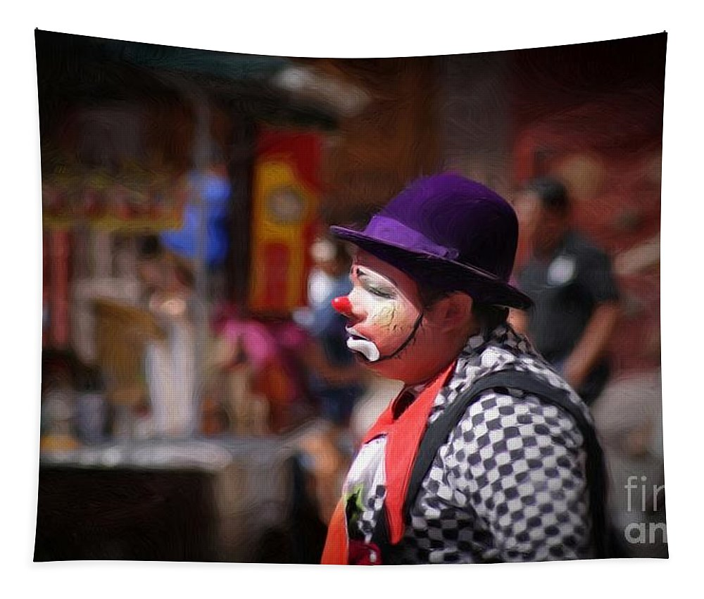 Street Tapestry featuring the photograph Street Clown At Central Park by John Kolenberg