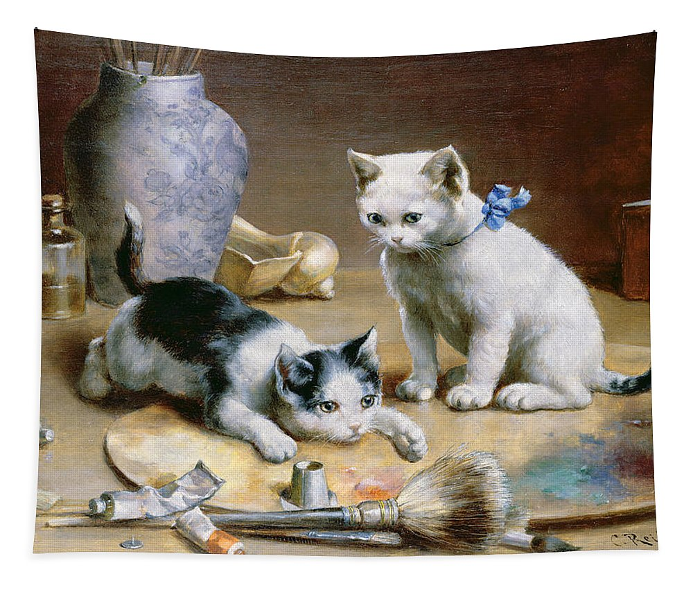 Kittens; Brushes; Paint; Palette; Artist; Vase; Tapestry featuring the painting Studio Assistants by Carl Reichert