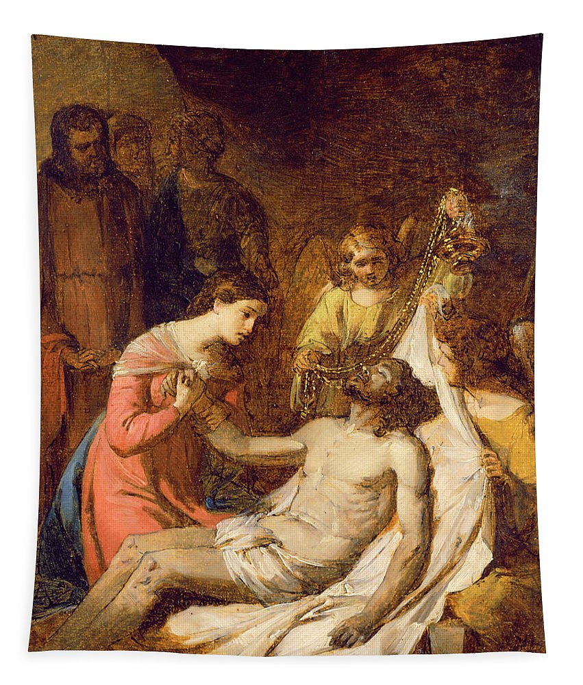 Xyc127206 Tapestry featuring the photograph Study Of The Lamentation On The Dead Christ by Benjamin West