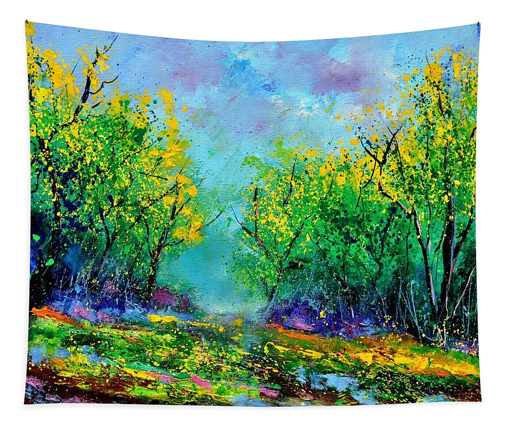 Landscape Tapestry featuring the painting Summer In The Wood 452160 by Pol Ledent