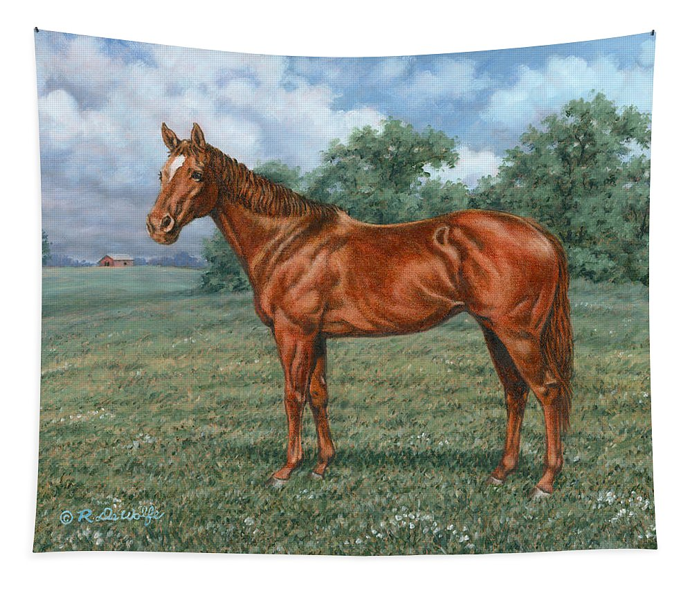 Horse Tapestry featuring the painting Summer Pasture by Richard De Wolfe
