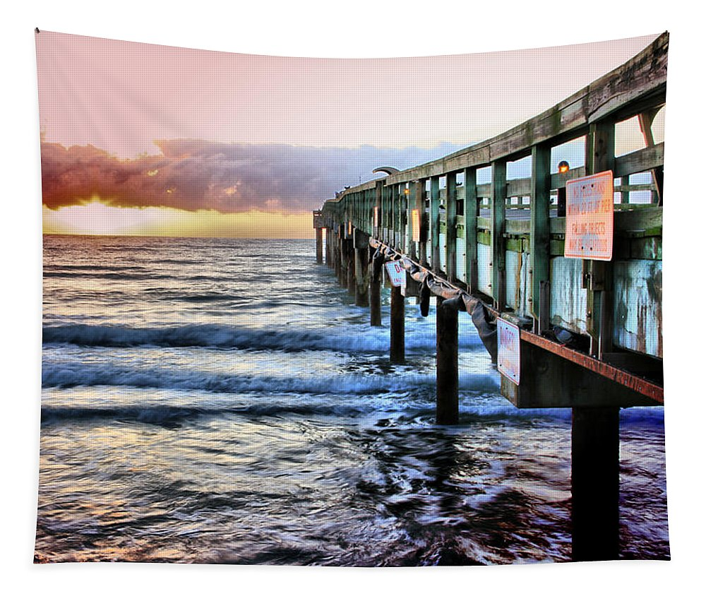 St Johns Pier Florida Scenics Sunrise Augustine Waves Ocean Tapestry featuring the photograph Sun Is Rising by Alice Gipson