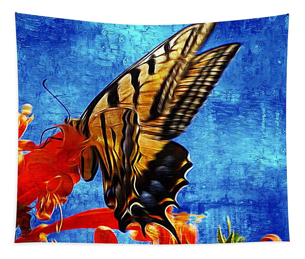 Sunlit Tapestry featuring the photograph Sun Lit Eastern Tiger Swallowtail by John Kolenberg