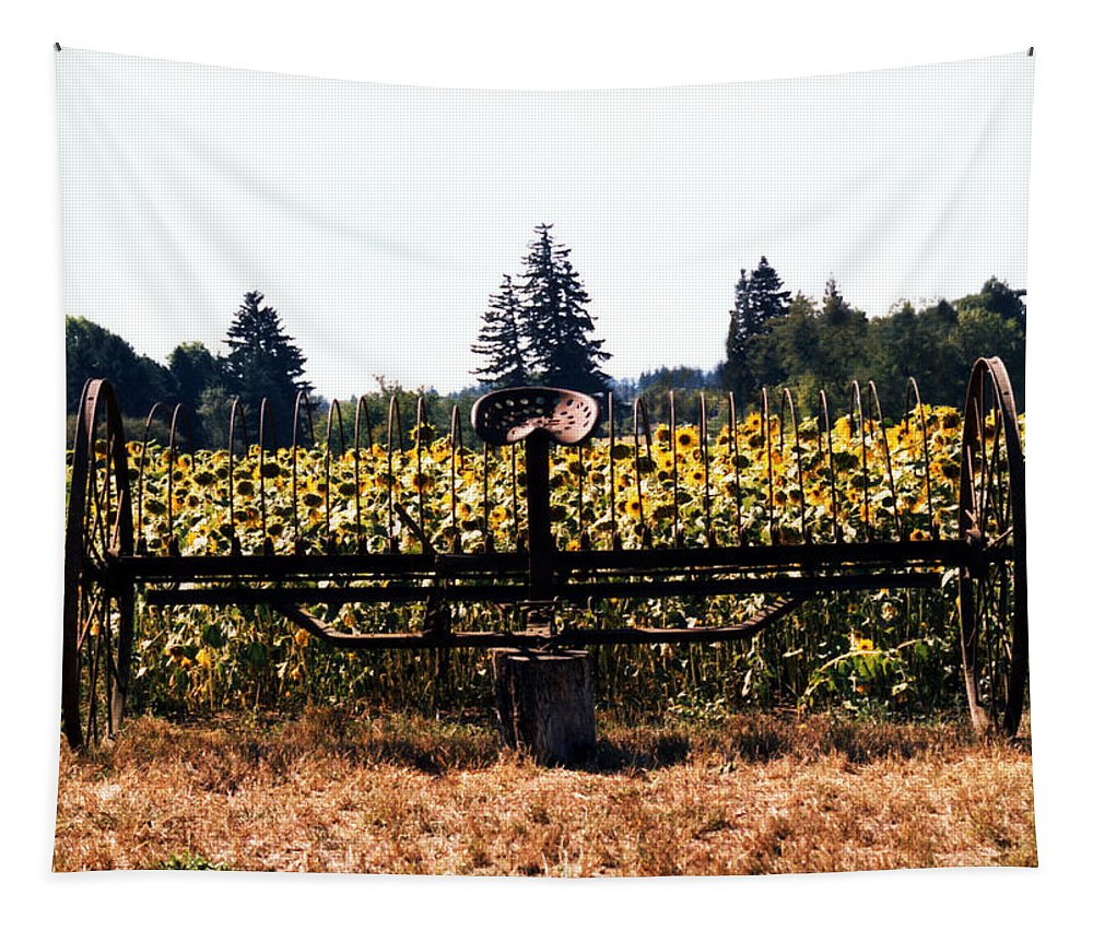 All Art Tapestry featuring the photograph Sunflower Farm Scene by Maureen E Ritter