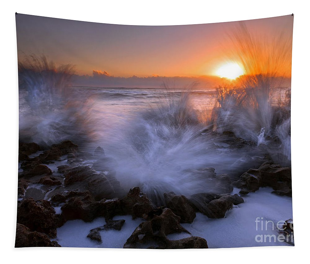 Coral Cove Tapestry featuring the photograph Sunrise Explosion by Mike Dawson
