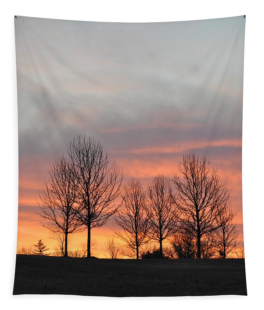 Sunrise On The Hill Tapestry featuring the photograph Sunrise On The Hill by Bill Cannon