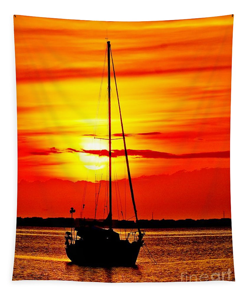 Dawn Tapestry featuring the photograph Sunrise Sailing by Nick Zelinsky