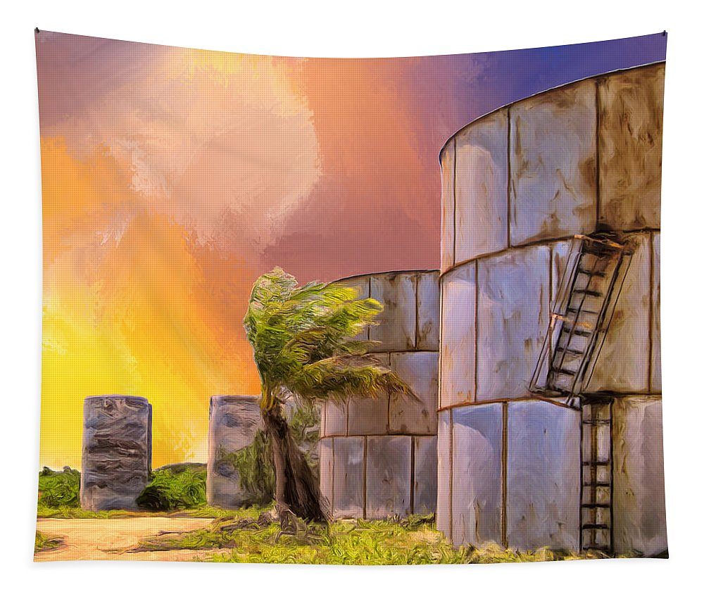 Tropics Tapestry featuring the painting Sunset And Abandoned Oil Tanks by Dominic Piperata