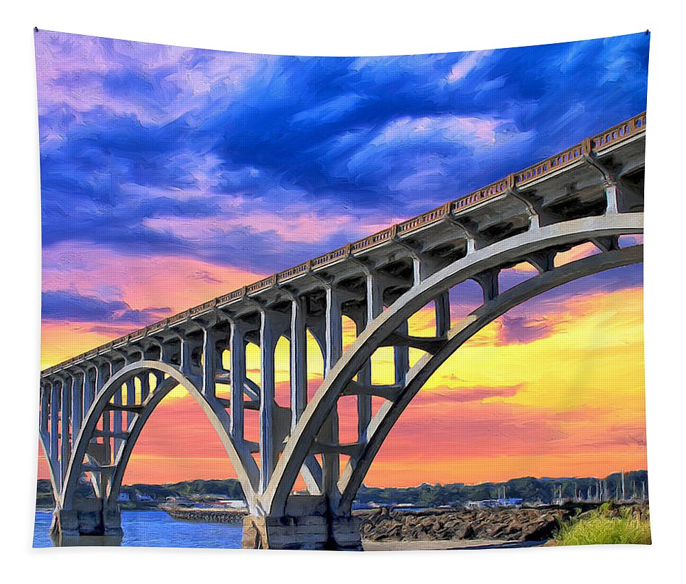 Yaquina Bay Tapestry featuring the painting Sunset At Yaquina Bay by Dominic Piperata