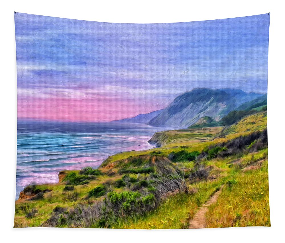 Sunset Tapestry featuring the painting Sunset Bluffs at Big Sur by Dominic Piperata