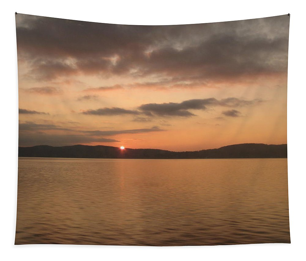 Sun Tapestry featuring the photograph Sunset From The Train by Richard Bryce and Family
