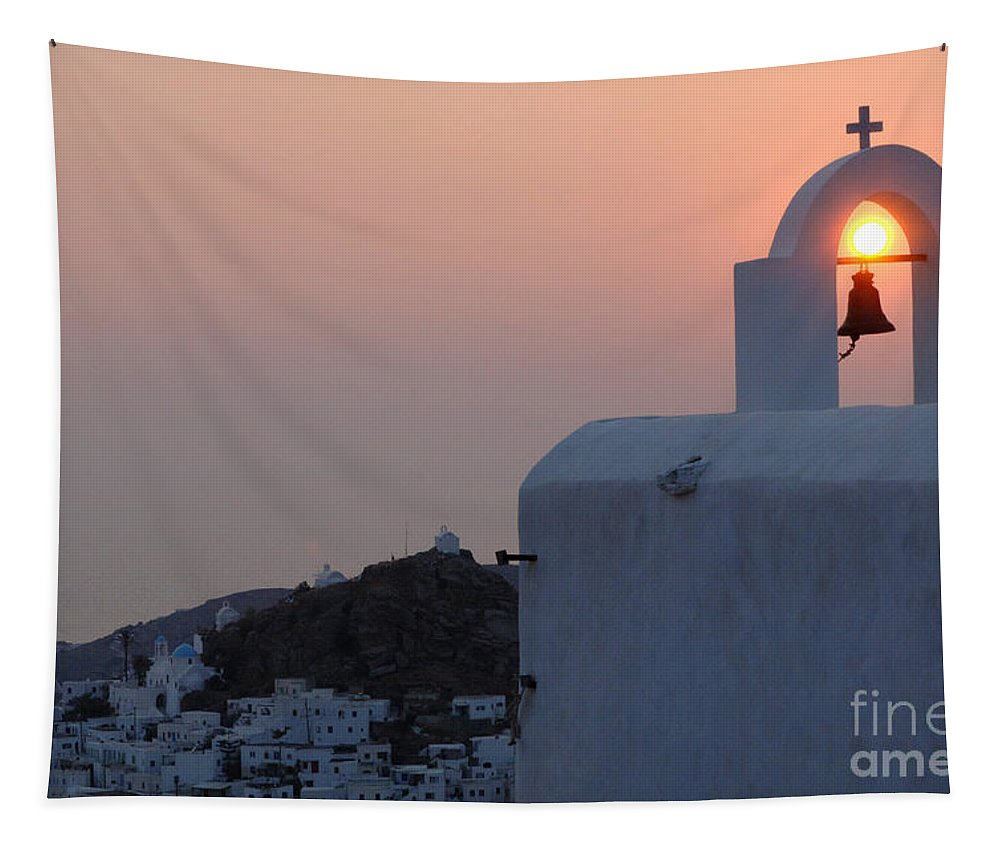 Chapel Tapestry featuring the photograph Sunset On Greek Ios by Bob Christopher