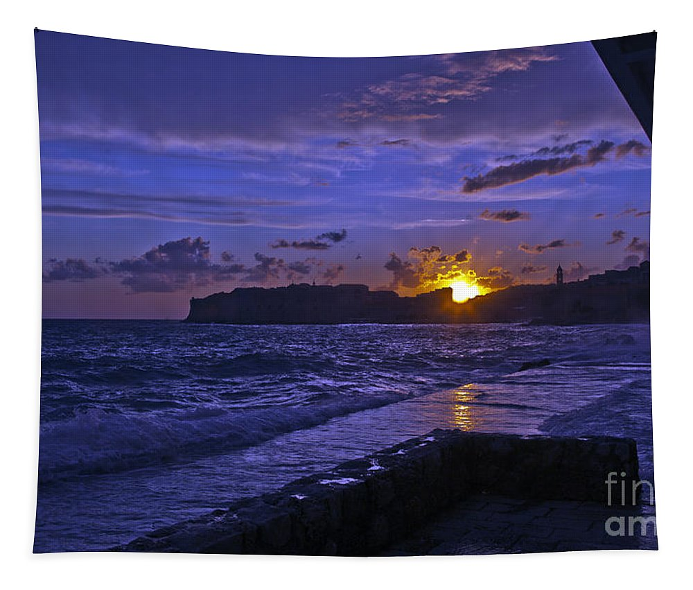 Dubrovnik Tapestry featuring the photograph Sunset Over The Adriatic by Madeline Ellis