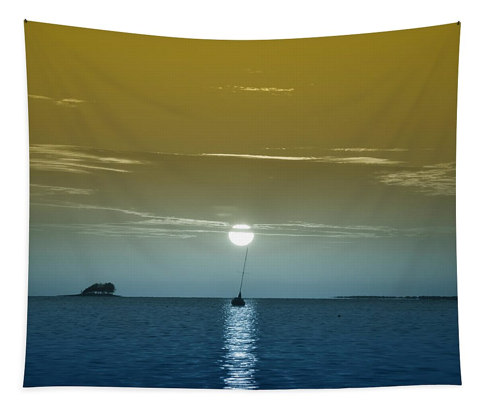 Sunset Sails Tapestry featuring the photograph Sunset Sails by Bill Cannon