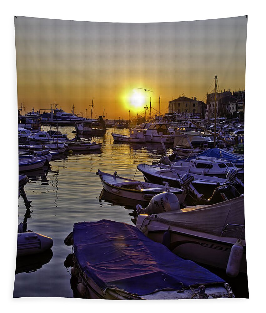 Rovinj Tapestry featuring the photograph Sunsetting Over Rovinj 2 by Madeline Ellis