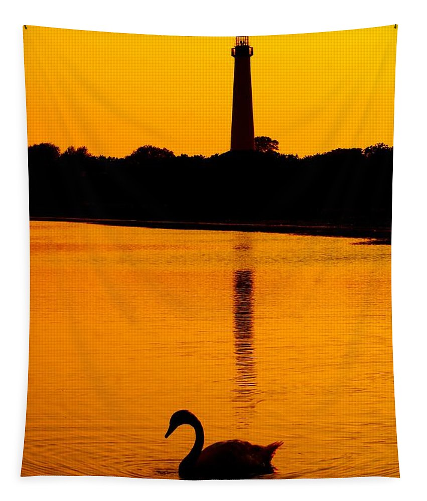 Lighthouse Tapestry featuring the photograph Swan Sunset At The Light by Nick Zelinsky