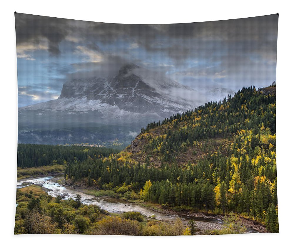 Clouds Tapestry featuring the photograph Swiftcurrent River Overlook by Mark Kiver