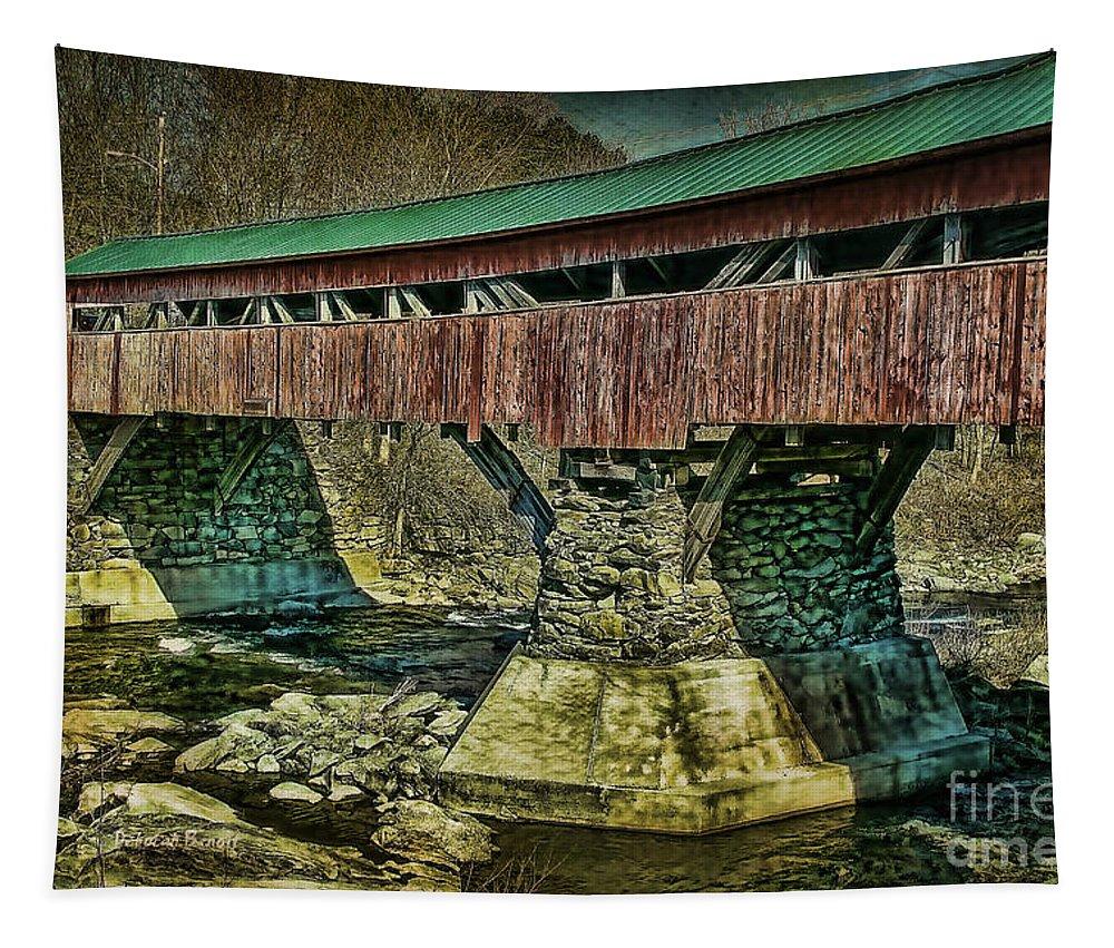 Taftsville Bridge Tapestry featuring the photograph Taftsville Covered Brdidge by Deborah Benoit
