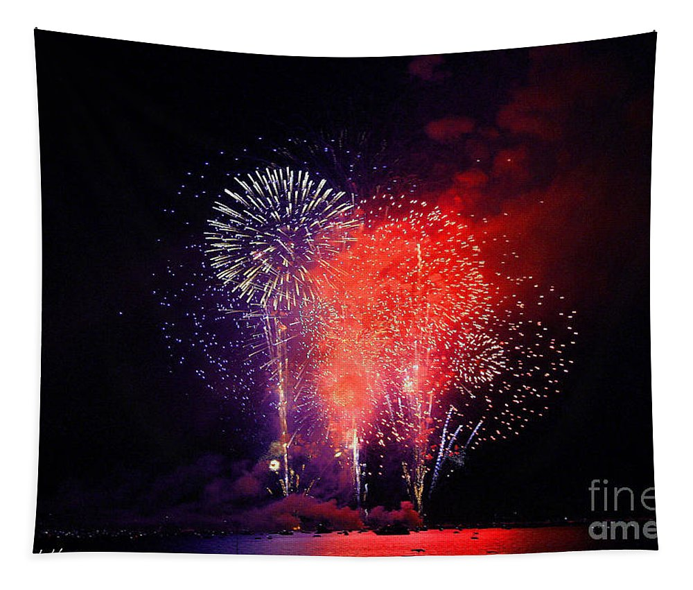 Lake Tahoe Tapestry featuring the photograph Tahoe Fireworks. by Mitch Shindelbower