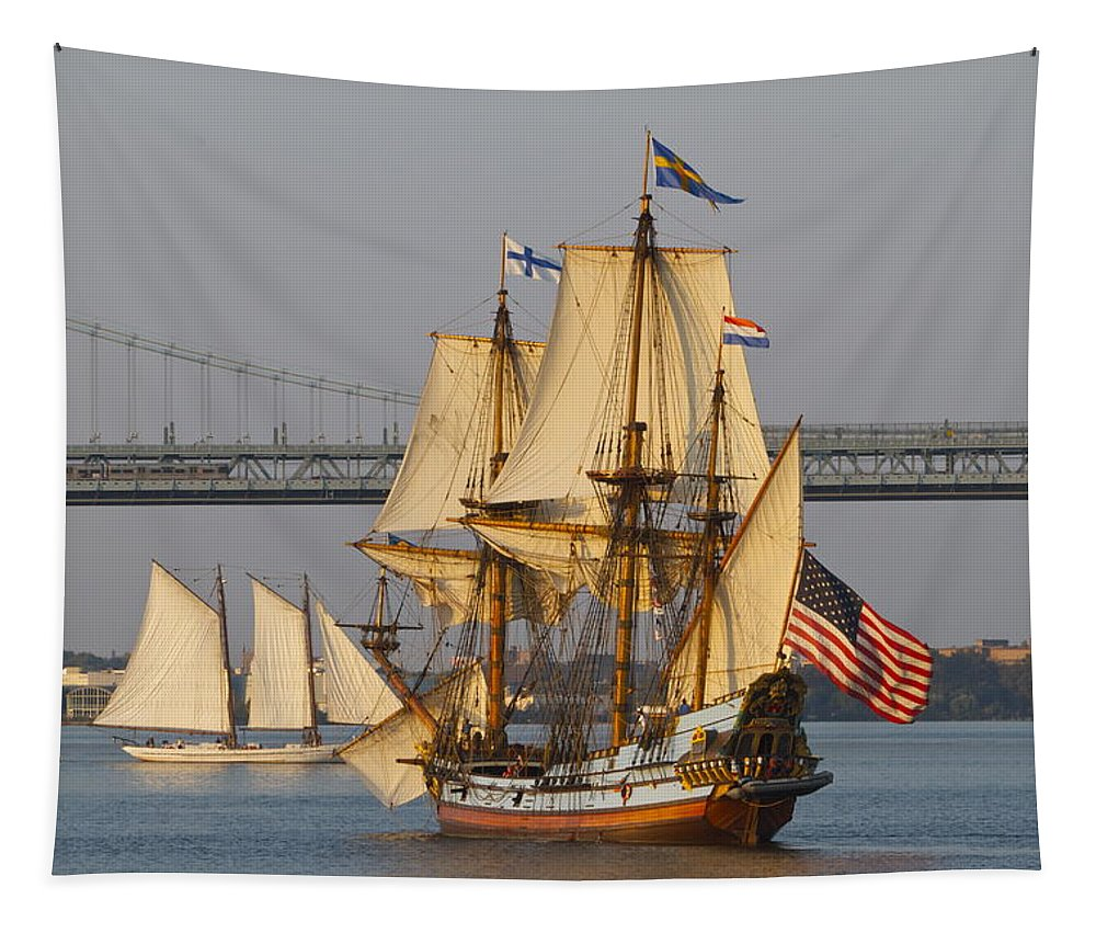 Tall Ship Penns Landing Seaport Philadelphia Ben Franklin Bridge Tapestry featuring the photograph Tall Ship Five by Alice Gipson