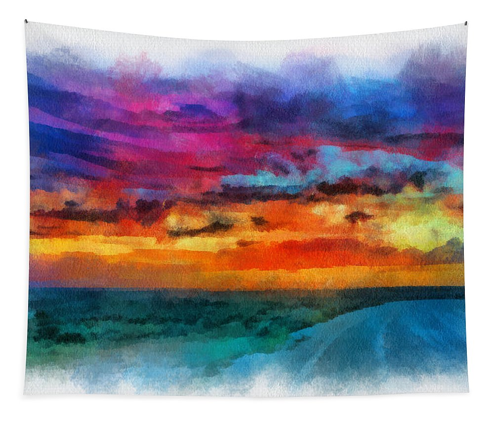 Santa Tapestry featuring the digital art Taos Sunset Iv Watercolor by Charles Muhle