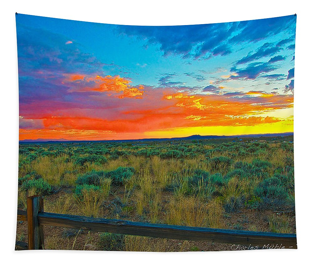Taos Tapestry featuring the digital art Taos Sunset Ix by Charles Muhle