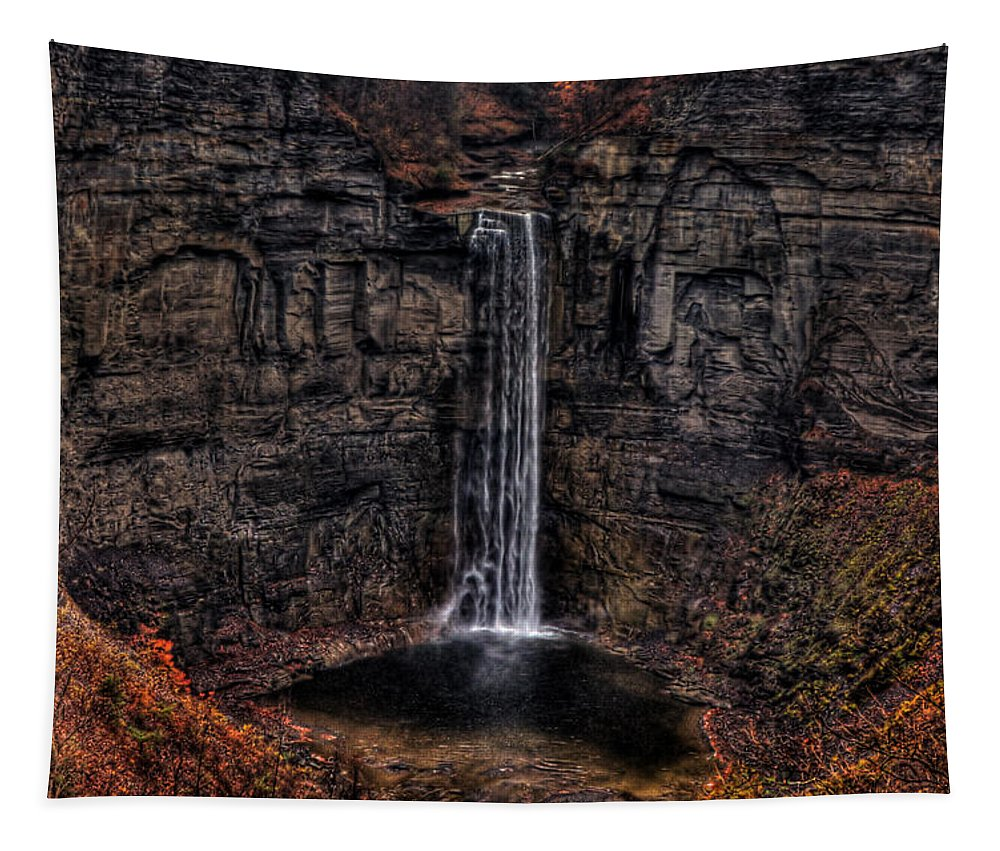 Waterfall Tapestry featuring the photograph Taughannok Falls II - Hdr by Richard Ortolano