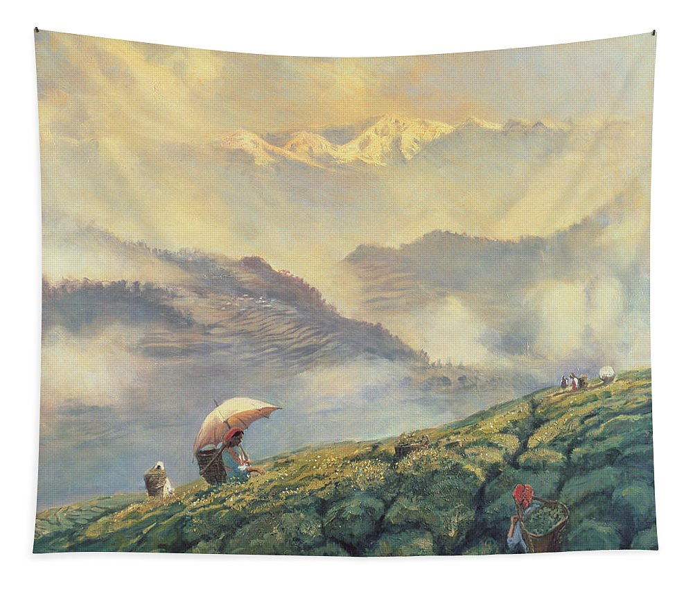 Badamtam Estate; Indian Landscape; Mountainous; Mountains; Hills; Female; Worker; Basket; Parasol; Umbrella; Picker; Crop; Plantation; Agriculture; Commodity; Trade; Asian; Terrace; Terraces; Hill; Tea Picking; Darjeeling; India Tapestry featuring the painting Tea Picking - Darjeeling - India by Tim Scott Bolton