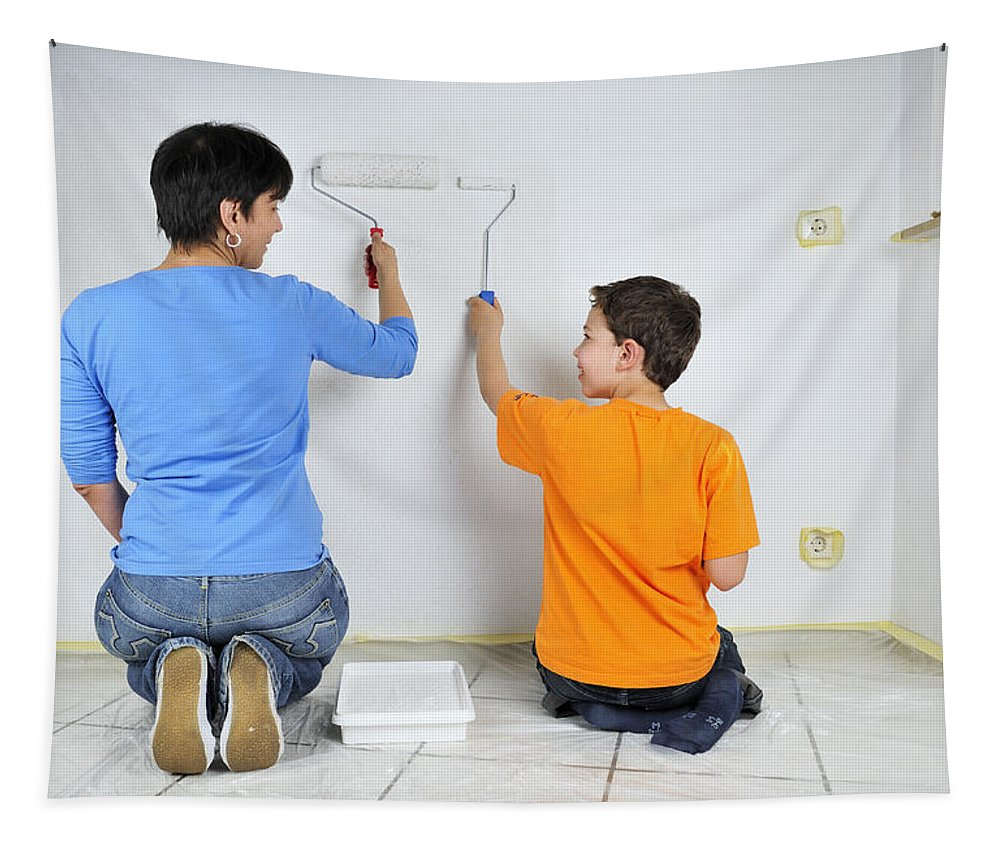 Boy Tapestry featuring the photograph Teamwork - Mother And Son Painting Wall by Matthias Hauser