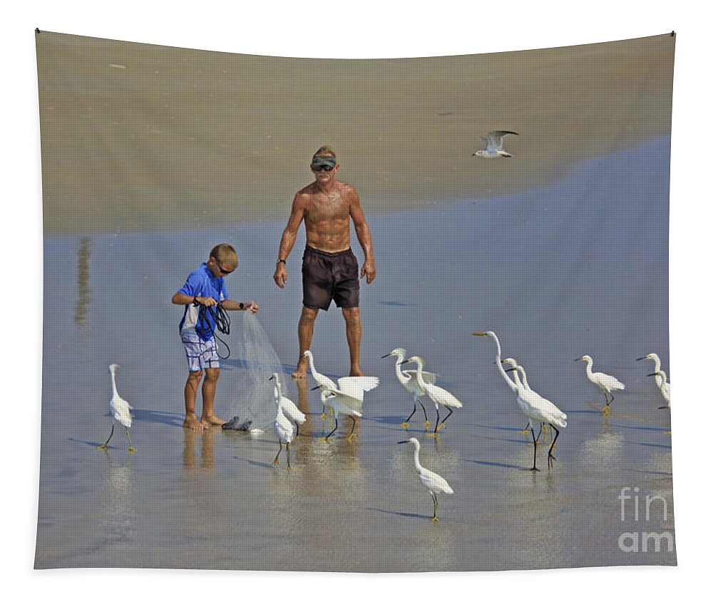 Beach Tapestry featuring the photograph Teasing The Birds by Deborah Benoit