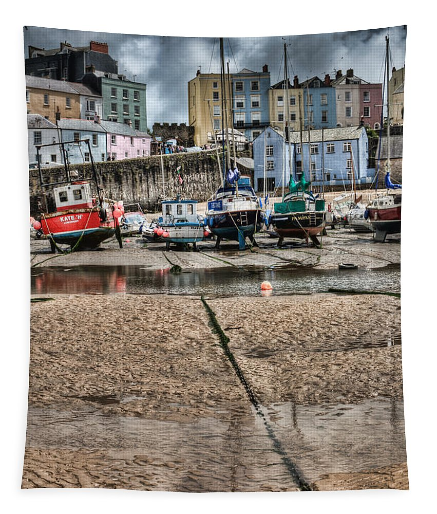 Tenby Harbour Tapestry featuring the photograph Tenby Harbour 2 by Steve Purnell