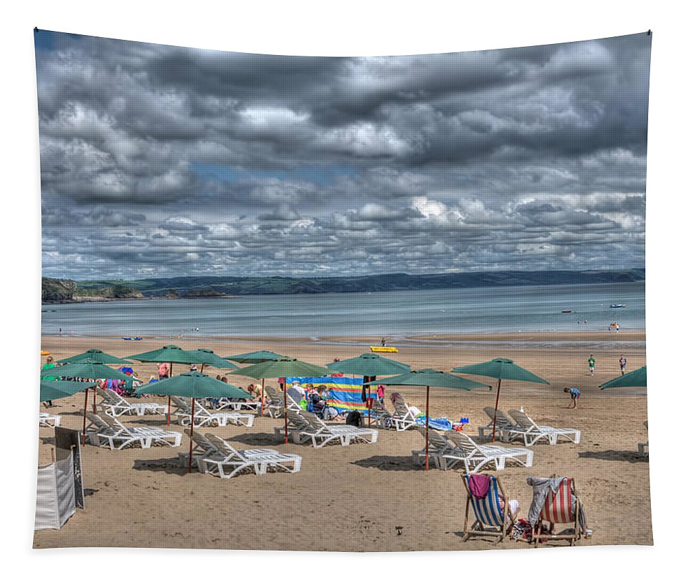 Tenby Harbour Tapestry featuring the photograph Tenby North Beach 3 by Steve Purnell