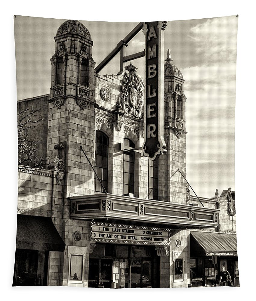 Ambler Theater In Sepia Tapestry featuring the photograph The Ambler Theater In Sepia by Bill Cannon