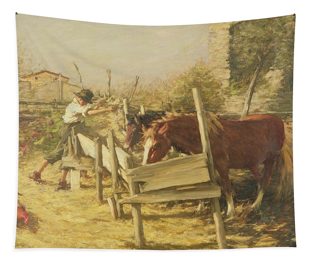 The Appian Way Tapestry featuring the painting The Appian Way by Henry Herbert La Thangue