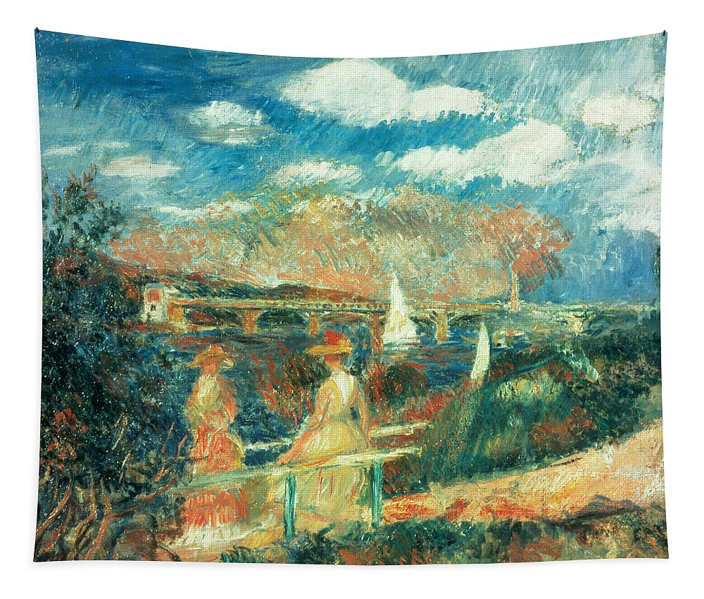 River; Impressionist; Landscape; Boats; Yachts; Towpath; Bords Tapestry featuring the painting The Banks Of The Seine At Argenteuil by Pierre Auguste Renoir
