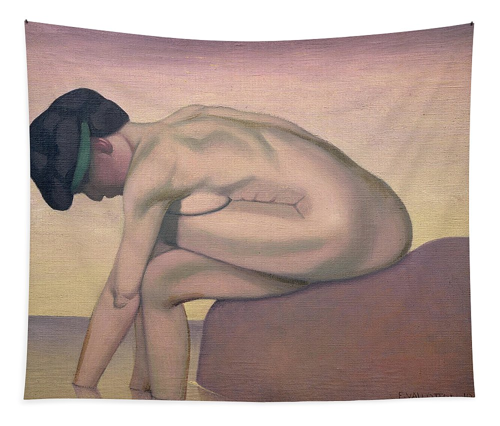 Female; Nude; Bending; Sitting; Paddling; Calm; Quiet; Solitary Tapestry featuring the painting The Bather by Felix Edouard Vallotton