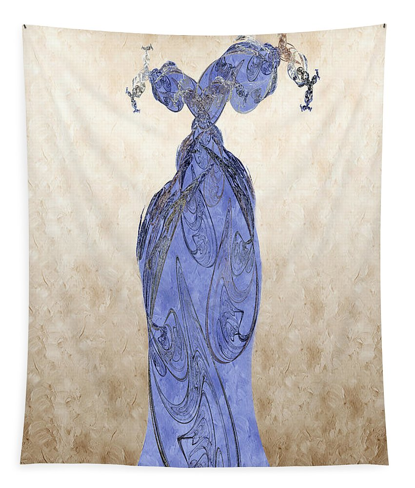 Abstract Tapestry featuring the digital art The Blue Dress by Andee Design